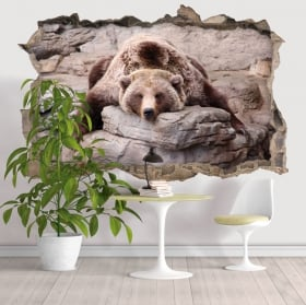 Vinile decorativo muri orso grizzly 3D