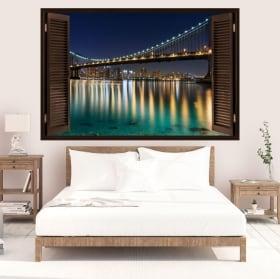 Vinili finestra ponte di Brooklyn 3D