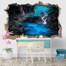 Adesivi cascate parco nazionale di Kanchanaburi Thailandia 3D