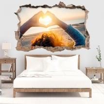 Sticker murale cuore al tramonto 3D