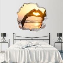 Vinile pareti mani di tramonto del cuore 3D