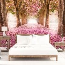 Murales alberi fiori rosa