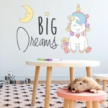 Sticker murale frase di unicorno