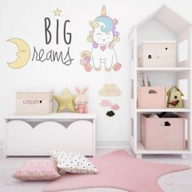 Sticker murale grandi sogni di unicorno