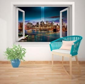 Adesivi murali finestra New York 3D
