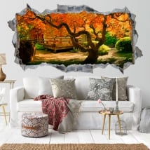 Vinile pareti giardino albero Asiatico 3D