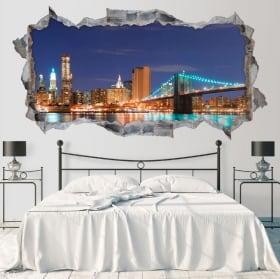 Vinili skyline ponte di Brooklyn di New York 3D