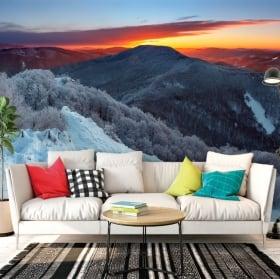 Adesivi murali in vinile alba in montagna