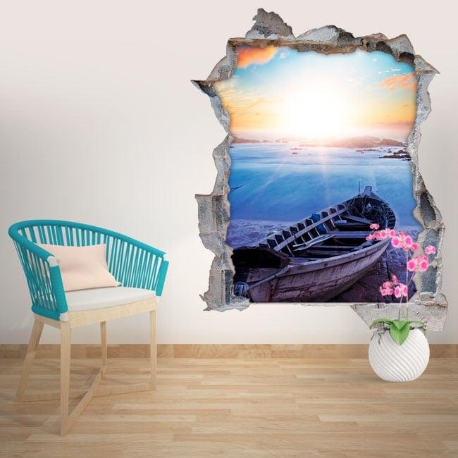 Adesivi murali spiaggia al tramonto 3d for Adesivi murali 3d