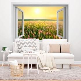 Vinili finestra campo di fiori al tramonto 3D