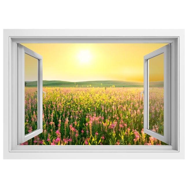 Vinili finestra campo di fiori al tramonto 3d - Fiori da finestra ...