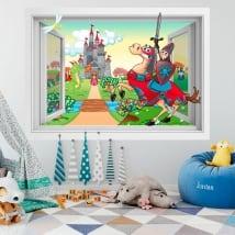 Vinile per bambini castello Principe e Principessa 3D