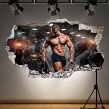 Vinili per palestre uomo con pesi 3D