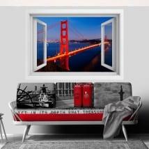 Vinili ponte Golden Gate finestra 3D