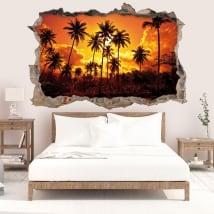 Sticker murale sole e palme sulla spiaggia 3D