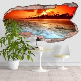 Vinili spiaggia al tramonto 3D