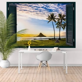 Sticker murale tramonto alle Hawaii finestra 3D