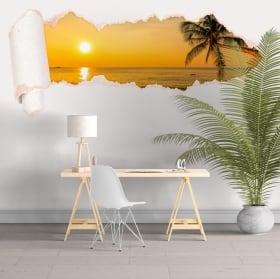 Vinili tramonto sulla spiaggia carta strappata 3D