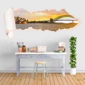 Vinili baia del tramonto di Sydney carta strappata 3D
