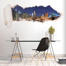 Vinili skyline di New York carta strappata 3D