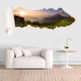 Vinili montagne al tramonto carta strappata 3D