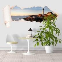 Vinili Faro del litorale di Portland Maine carta strappata 3D