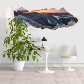 Vinili tramonto montagne innevate carta strappata 3D