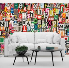 Murales in vinile collage di lettere