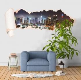 Vinili New York Manhattan carta strappata 3D