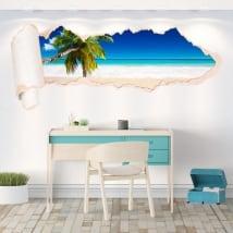 Vinili palma sulla spiaggia carta strappata 3D