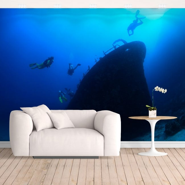 Murales in vinile sommergibilisti nel mare