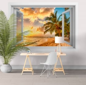 Vinile pareti tramonto alla spiaggia barbados 3d