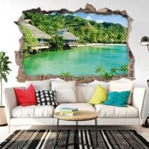 Vinile decorativo muri bungalow sulla spiaggia 3d