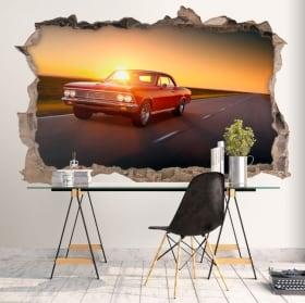 Vinile decorativo muri auto retrò 3d