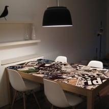 Vinile per tavoli collage di grunge