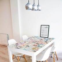 Vinile decorativo tavoli collage lettere