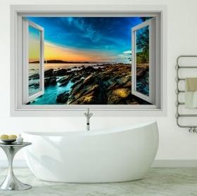 Vinili muri 3d alba sulla costa del mare