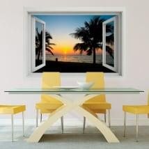 Vinile decorativo tramonto sulla spiaggia finestra 3d