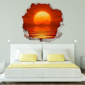 Vinile decorativo tramonto sul mare 3d