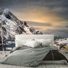 Murales vinili isole del tramonto lofoten norvegia