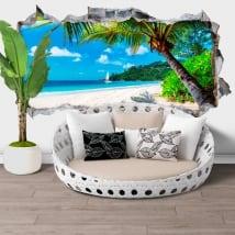 Adesivi murali giamaica palma sulla spiaggia buco 3d