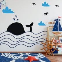 Vinile decorativo bambini balena in mare