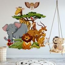 Vinile decorativo bambini animali dello zoo