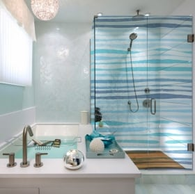 Vinili schermo del bagno colori quadrati
