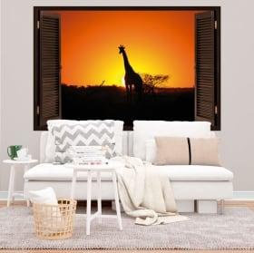 Sticker murale giraffa al tramonto finestra 3d