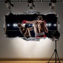 Sticker murale boxe buco muro 3d