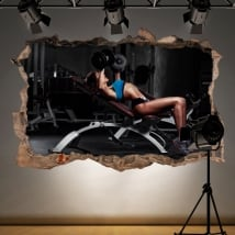Sticker murale palestra fitness 3d