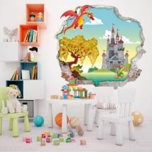Vinili muri bambini drago e castello 3d