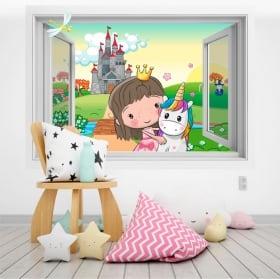 Vinile per bambini principessa e unicorno 3d