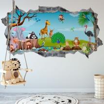 Vinili muri bambini animali della natura 3d